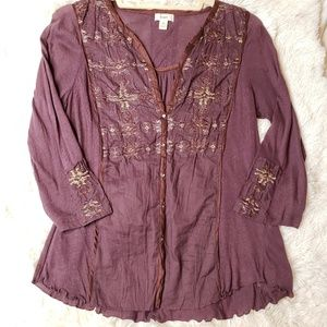 Anthropologie Tiny embroidered top